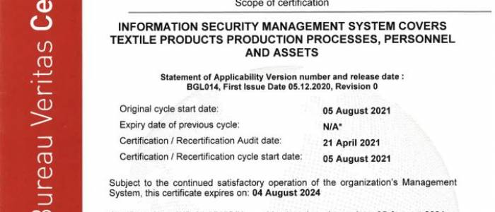 Deniz Tekstil ISO 27001 Bilgi Güvenliği Yönetim Sistemi Belgesi Aldı
